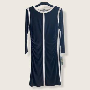 Ralph Lauren 3/4 Sleeve Dress Black White 12
